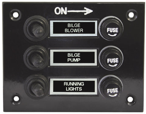 3 Gang Fused Marine Switch Panel With Splash Proof Boots for Boats 12 / 24 Volt