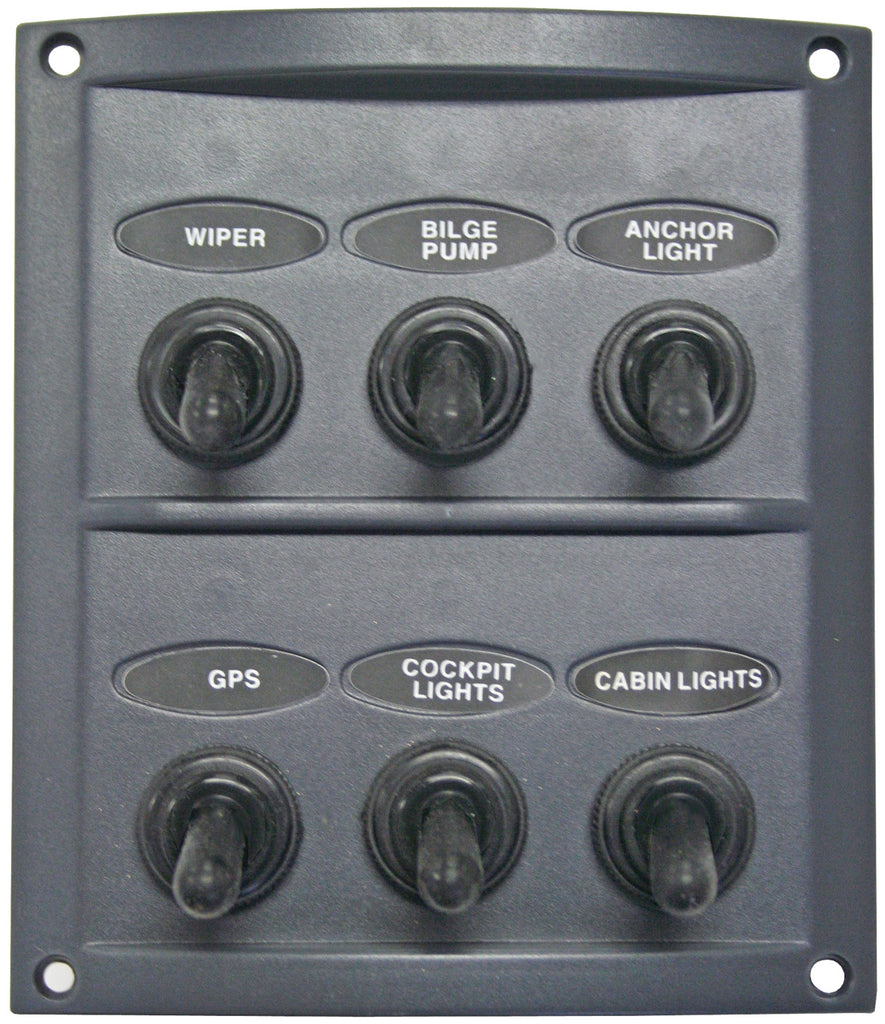 Switch Panel 6 Gang 12 volt/ 24 volt Grey Waterproof Boots AAA Contoured Marine