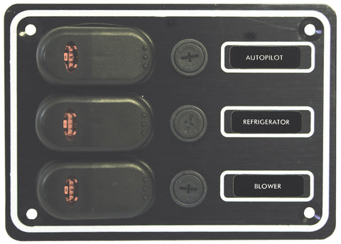 12 Volt 3 Switch Panel Extremely Weather proof Black Textured Alloy Pre-Wired