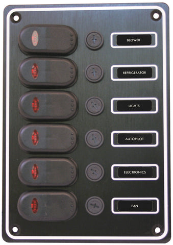 12 or 24  Volt 6 Switch Panel Extremely Weather proof Black Textured Alloy Pre-Wired
