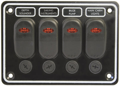 12 Volt 4 Switch Panel Weather proof Horizontal Black Textured Alloy Pre Wired