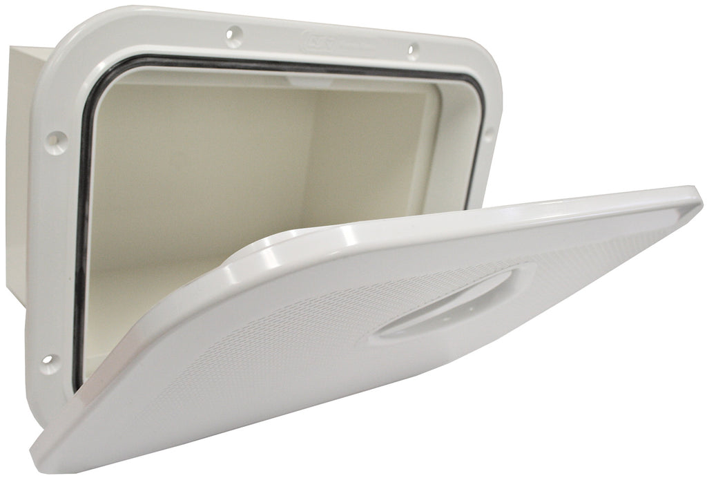 Access Hatch Storage Box for Caravan/ Boat/RV White Lid storage Box