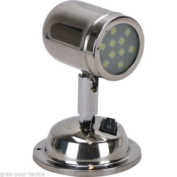 12 Volt LED Interior Reading Swivel bunk Light Caravan Boat Polished Stainless Cool White