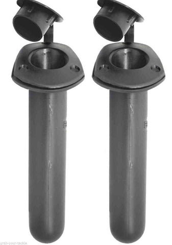 2 X BOAT RECESSED Black  FISHING ROD HOLDERS & CAPS Boat Marine Fishing