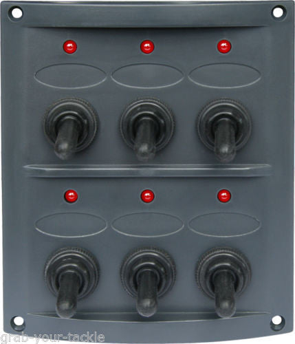 BOAT CARAVAN SWITCH PANEL 12 VOLT LED 6 GANG DARK GREY WATERPROOF RED LED