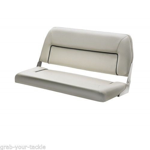 BOAT Seat Bench Seat Deluxe   Folding Seat 2 Person Marine White Blue trim