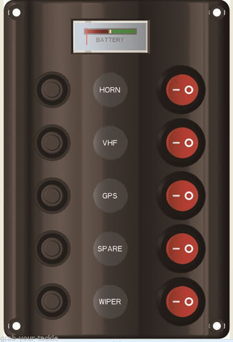 Switch Panel LED 5 Gang with Circuit Breakers Marine  /Caravan IP 65 Waterproof