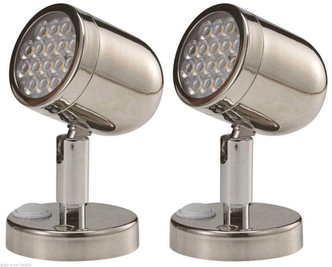 2 x Caravan / Boat light LED READING LIGHT 16 LED's 154 Lumens Wall Light
