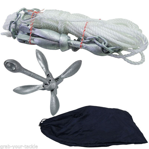 Fishing Kayak Anchor Kit 1.5KG Collapsible Anchor, Chain, Rope and shackles