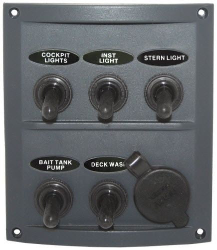 Switch Panel Grey RV Boat Caravan Switch Panel 12 Volt 5 Gang+ Power Socket