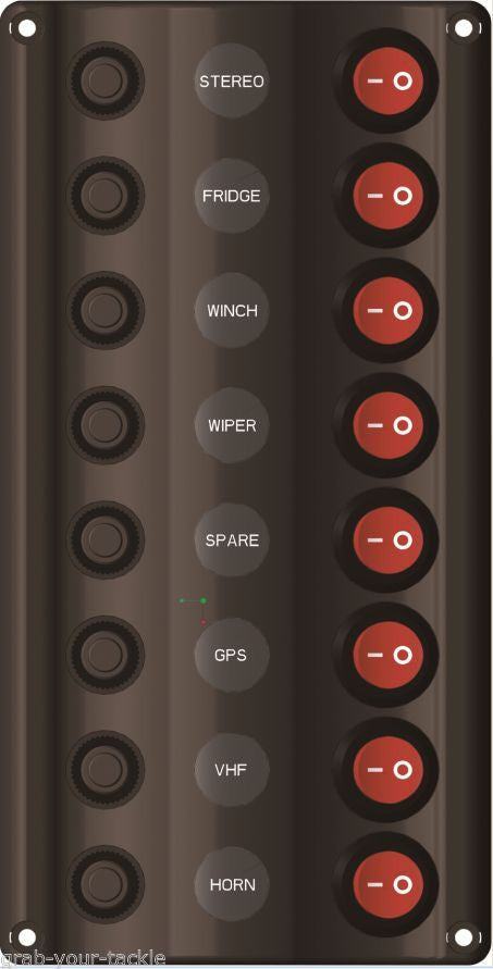 Switch Panel LED 8 Gang with Circuit Breakers Marine - Caravan IP 65 Splash Proof