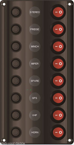 Switch Panel LED 8 Gang with Circuit Breakers Marine  /Caravan IP 65 Waterproof
