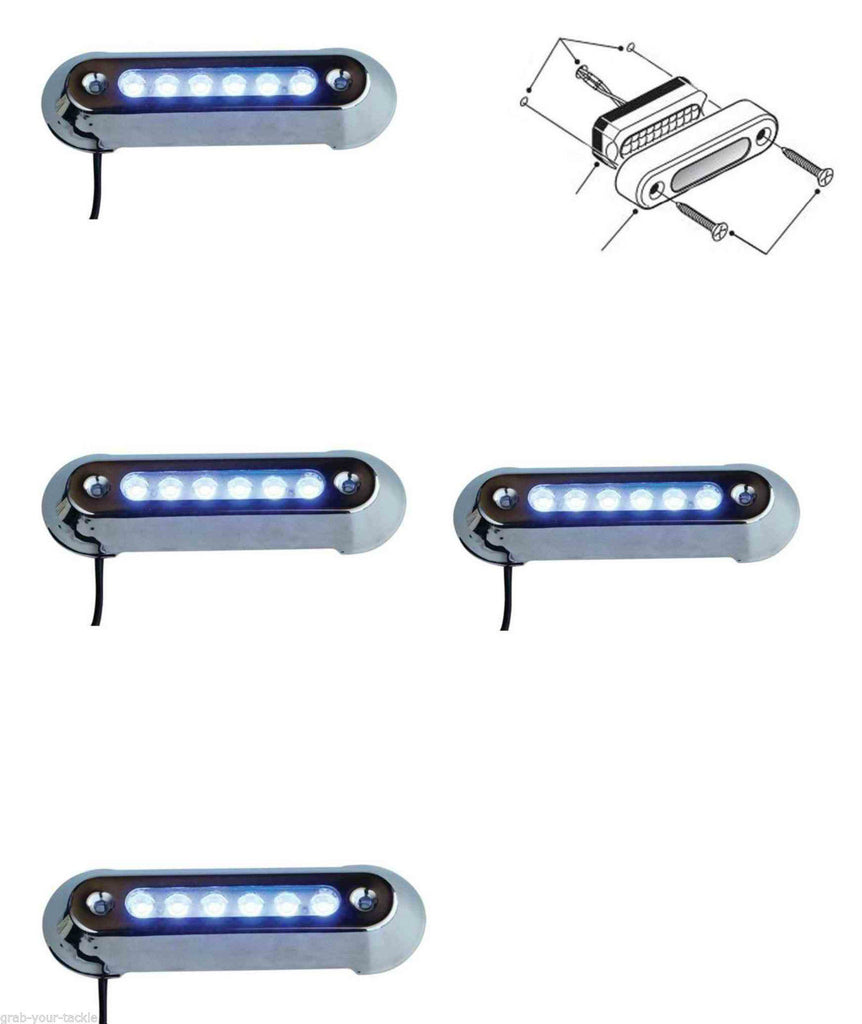 LED UNDERWATER LIGHT 4 PACK BLUE Marine/ Boat/POOL 12 volt Stainless Steel 316G