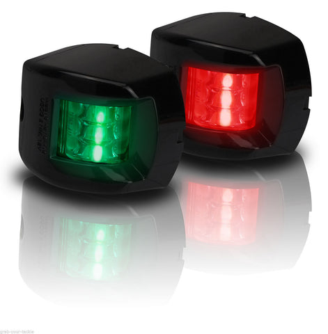 12V LED Navigation Light Boat Port & Starboard - Black Pair 12V  Super Bright