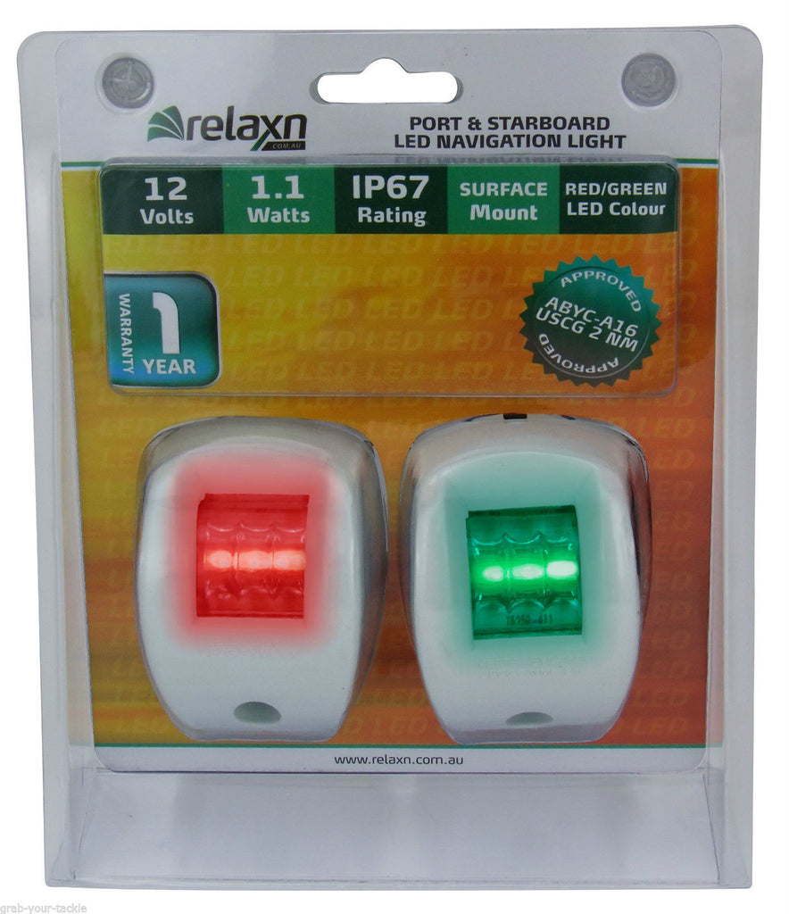 12 Volt LED Boat Navigation Lights White Case Port & Starboard Approved 2NM