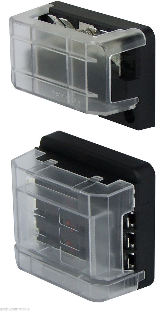 Buss Bar 12 way with 6 circuit Fuse Box Modular KIT 12v/24v Junction Box 100amp