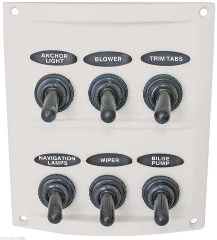 Switch Panel 6 Gang 12 volt/ 24 volt White Waterproof Boots AAA Contoured Marine