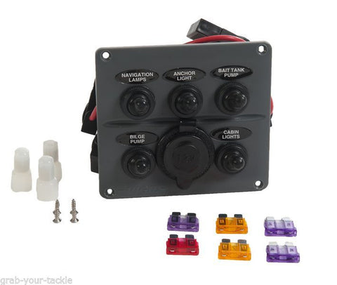 Boat Toggle Switch Panel 5 Gang & 1 Power Socket Water Resistant 6 Fuses Vigil