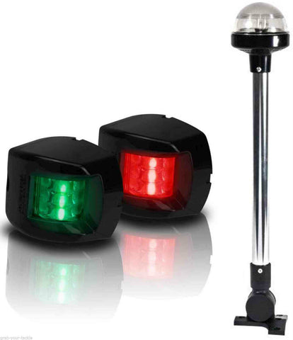 BOAT LED NAVIGATION LIGHTS KIT 3 Nav Light Package Port Starboard 12v +360 Black