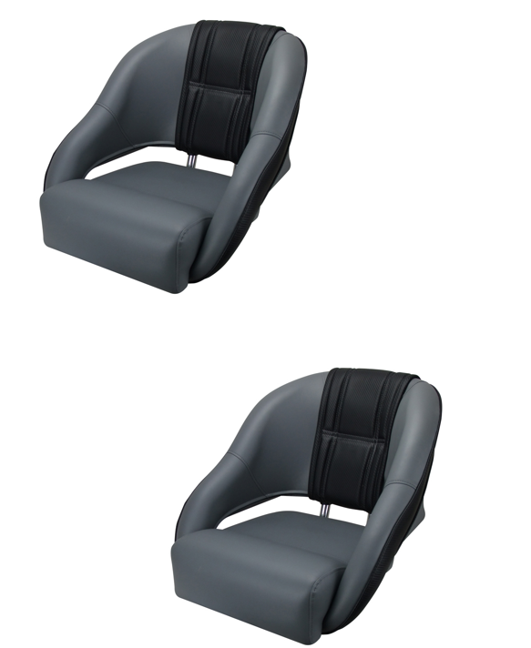 Boat Seats Relaxn Snapper Series Seat Grey/Black Carbon Alloy Frame X2