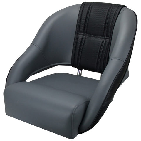Boat Seat Sports Relaxn® Snapper Series Seat Grey/Black Carbon - Alloy Frame & 415-635 Pedestal