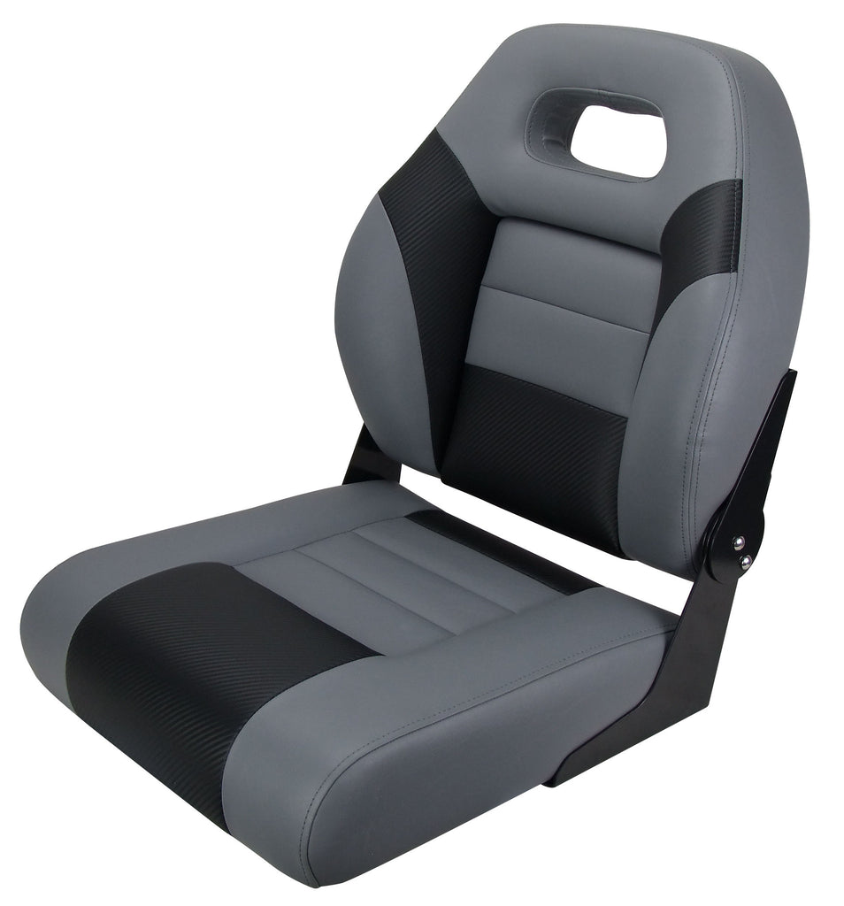 Boat Seat Sports Fold Down Black Carbon Grey Relaxn