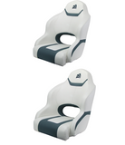 Boat Seat Relaxn Reef Series Sports Bucket Seat White/Gun Metal Grey Cross Hatch X2