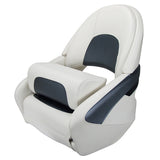Boat Seat Relaxn Offshore White Grey Carbon Black Carbon Flip up Support + Cover