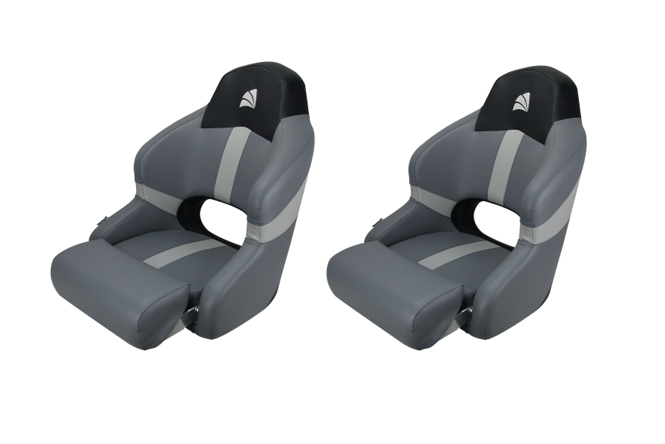 Relaxn Reef Series Seats Boat Sports Bucket With Bolster Black Carbon/ Grey X 2 Seats