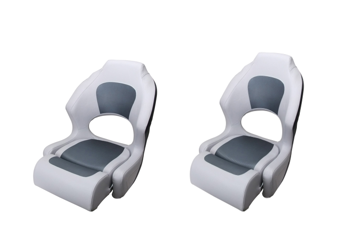 Boat Seat Helm Chair Filp Up Bucket Seat White/ Dark Grey With Bolster X 2