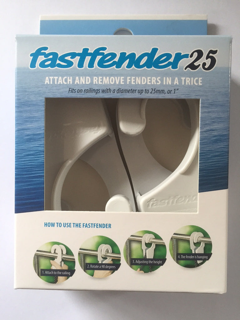 FastFender White 25MM Diameter Bow Rail Boat For Inflatable Fenders x 2 Hooks