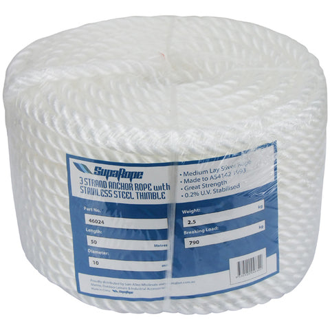 Anchor Rope 30m x 10mm PE Silver Anchor rope for Boat