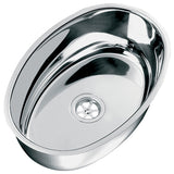 Boat Sink Oval Stainless Steel 356x240x130 90 Degree Support Edge Waste & Plug
