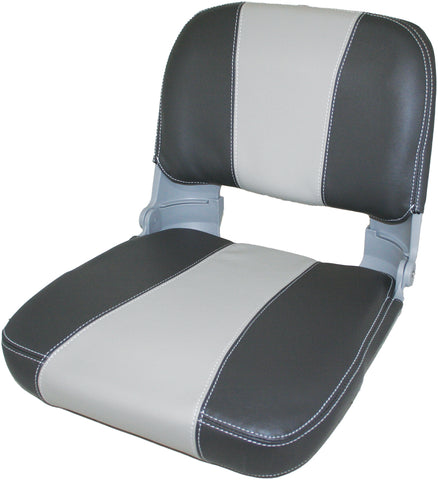 Boat Seat ESM Captain Folding Padded Charcoal Grey Marine Vinyl Back Pocket