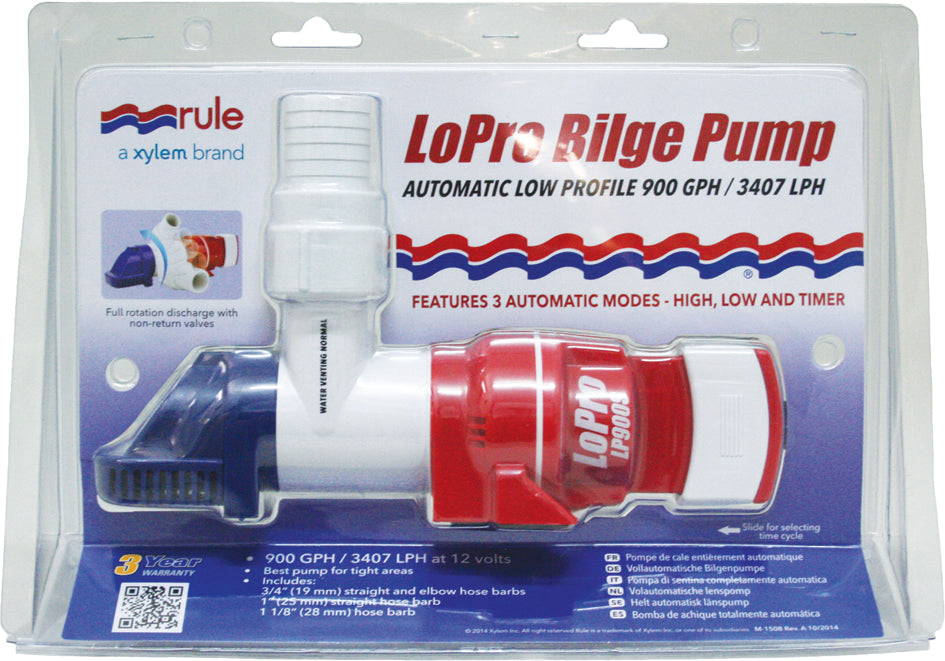 Rule LoPro Bilge Pump Automatic Low Profile 900GPH 3 Modes High, Low & Timer