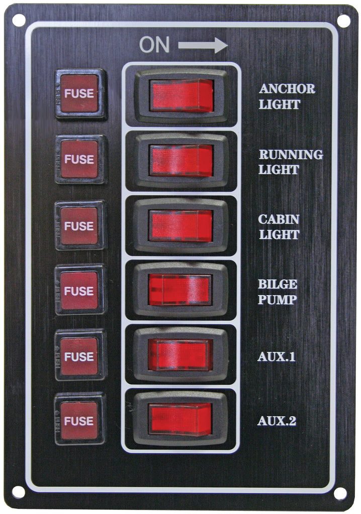 Switch Panel 12 Volt Alloy Illuminating 6 Gang Vertical With Fuses Black