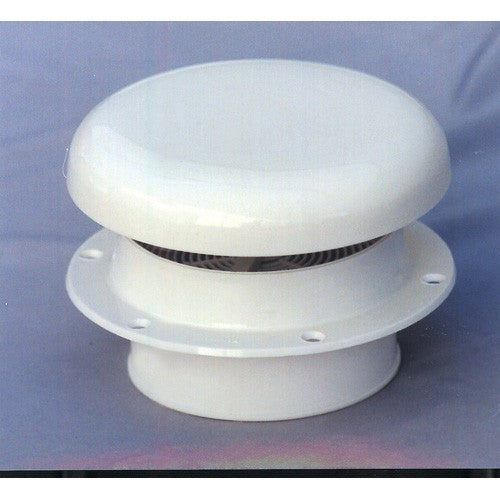 Mushroom Style Vent White Plastic Brass Spindle Low Profile Mosquito Screened
