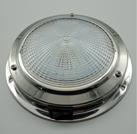 12 Volt LED Dome Light Stainless Steel Caravan Or Boat 140MM Diameter 84 Lumen
