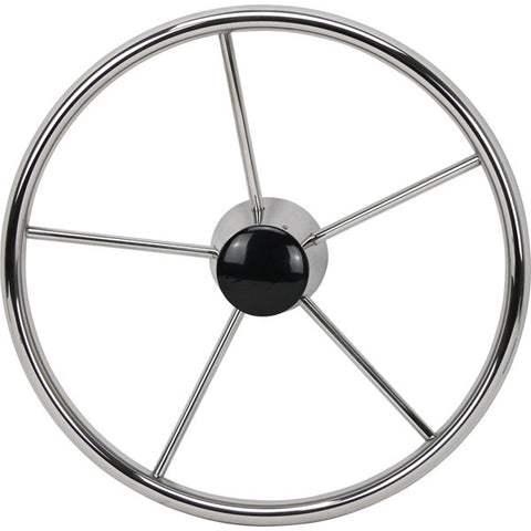 "Boat Steering Wheel 5 Spoke Stainless Steel 10° Dish 390mm Diameter 3/4"" Shaft"