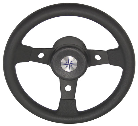 Boat Black Sports Steering Wheel 3 Spoke Aluminium 310 mm Delfino Italian Made