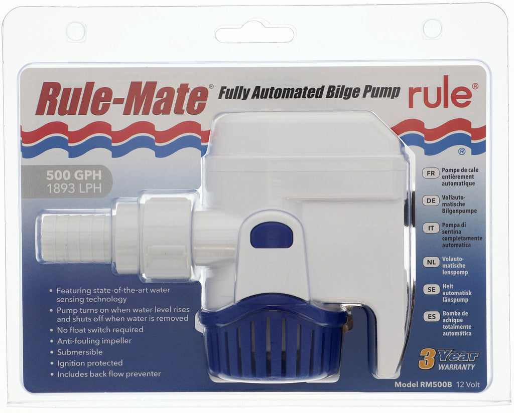 "RULE MATE ""Automatic"" Bilge Pump 500 GPH 1890LPH 3/4 outlet 12Volt Model RM500B"