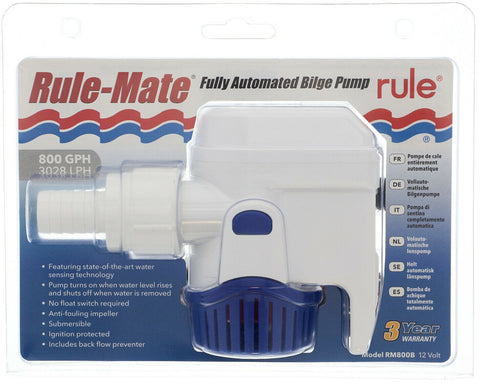 "Bilge Pump RULE MATE ""Automatic"" 800 GPH 3/4"" (19mm) outlet All In One Bilge 12V"