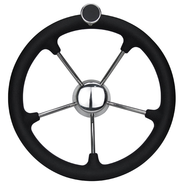 Boat Steering Wheel 350mm Diameter With Stainless Spokes & Speed Knob With Centre Hub.