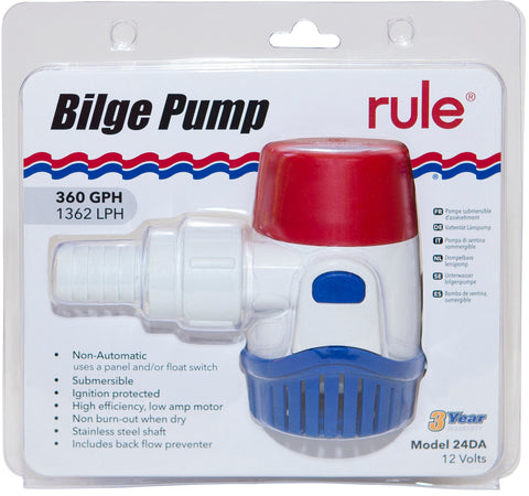 Rule Bilge Pump 360GPH (1363LPH) Non Automatic 12 Volt Back Flow Preventer Incl.