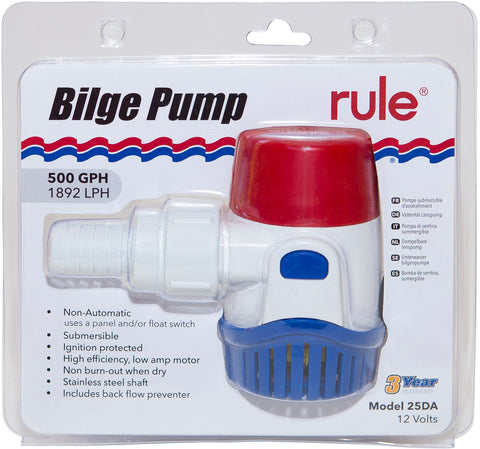 Rule Bilge Pump 500GPH (1893LPH) Non Automatic 12 Volt Back Flow Preventer Incl.