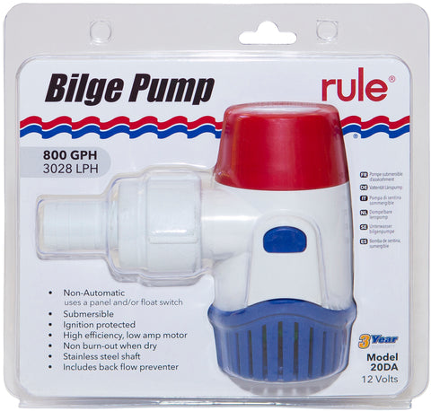 Rule Bilge Pump 800GPH (3028LPH) Non Automatic 12 Volt Back Flow Preventer Incl.