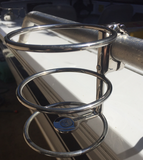 Boat Clamp On Drink Holder Suits 25mm Rail 316 Stainless Steel 360 Degree Adjust