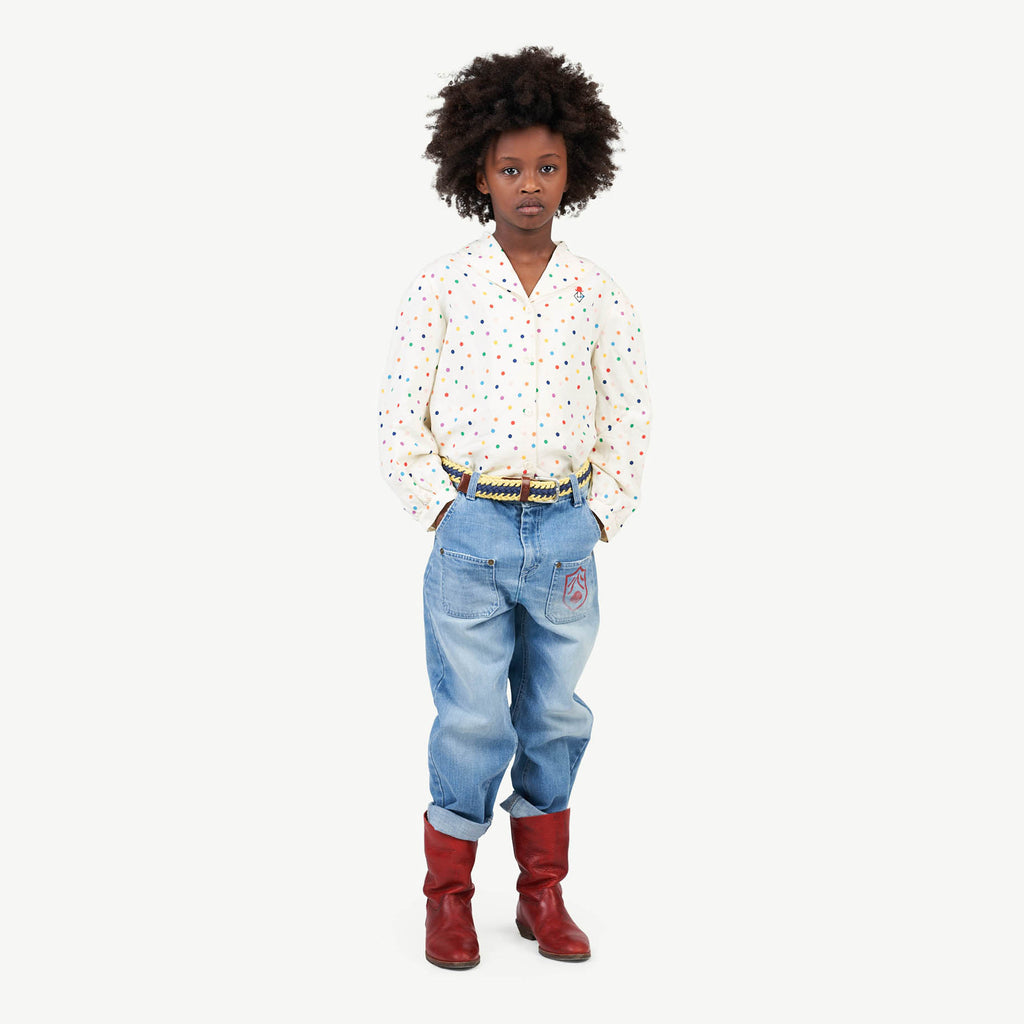 DOTS GADFLY KIDS SHIRT RAW WHITE DOTS