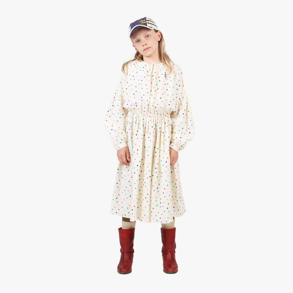 DOTS TORTOISE KIDS DRESS RAW WHITE DOTS