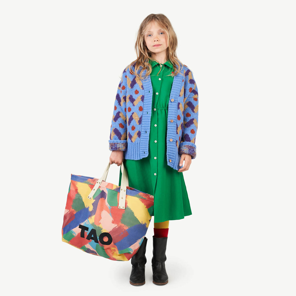 MULTICOLOR RACOON KIDS CARDIGAN BLUE